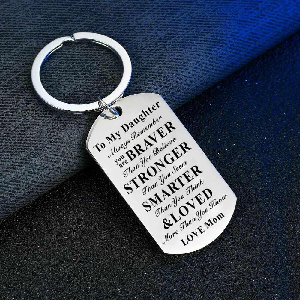 Cadeaux pour enfants Graduation fils fille anniversaire porte-clés en acier inoxydable chien Tag porte-clés amour papa maman famille enfants