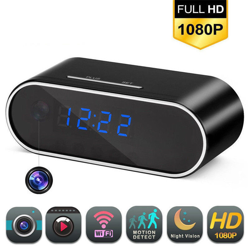 Full HD 1080P Wifi Alarm Clock Camera Home Security Protection Motion Security IR Cam Nanny Night Vision IP Camera