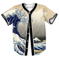Great Wave Jersey Summer Style with buttons 3d print Hip Hop Streetwear Men's shirts tees tops baseball shirt top tees