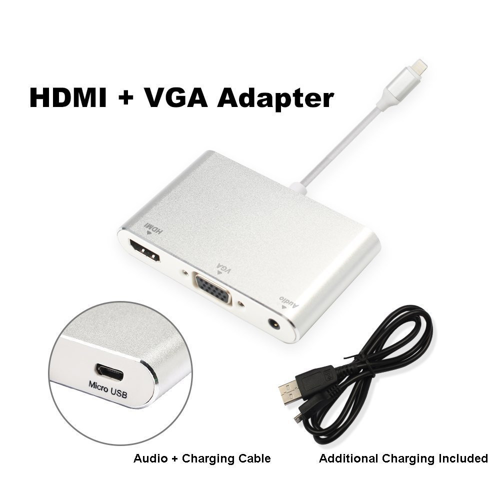 Купить с кэшбэком Plug and Play HDMI Cable Adapter Phone Audio Video to TV Projector for iPhone 8 PLUS X 7 6S 6 Plus 5 5S For iPad Pro Air Mini