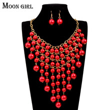 Nigeria wedding 5 color Simulated Pearl fashion jewelry sets Moon Girl Necklace earrings for women african beads jewelry set(China)