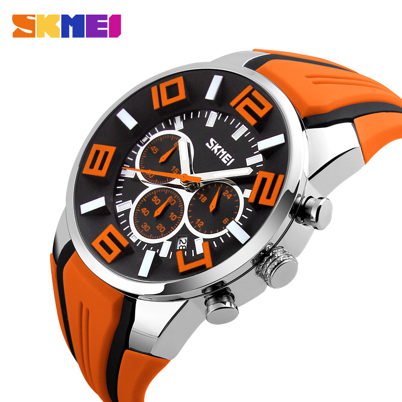 SKMEI Men Big Dial Fashion Quartz Watch Silicone Strap Date Sports Watches Calendar Waterproof Stopwatch Relogio Masculino 9128 new famous brand skmei fashion leather strap quartz men casual watch calendar date work for men dress wristwatch 30m waterproof