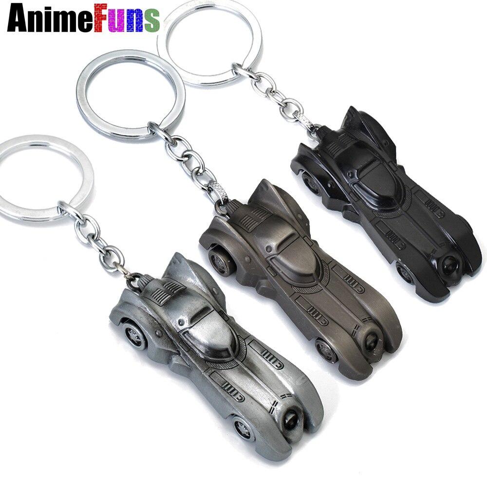 10 pcs The dark knight Batman Car Model Batmobile Metal Keychains Pendant Key Chain BatMan Superman Key Ring 3 Colors