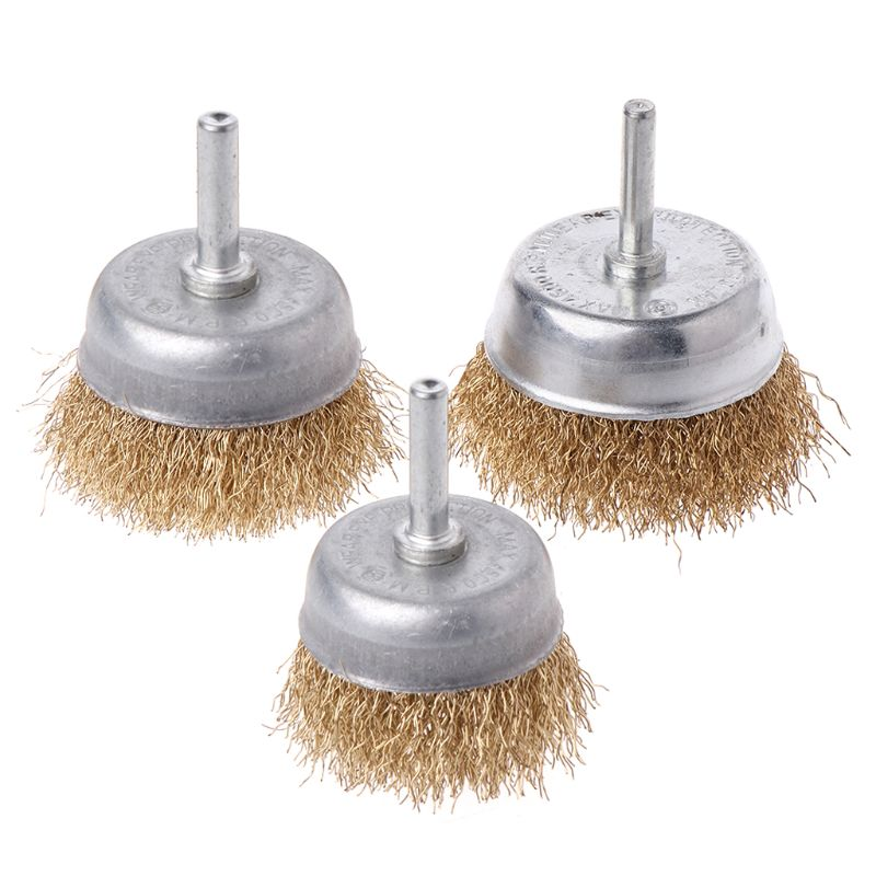 1 Pcs Bowl Wire Brush 6mm Shank Diameter Flat Steel Wire Wheel Electric Drill Grinding Mill Polish Wheel Derusting Tool Power To