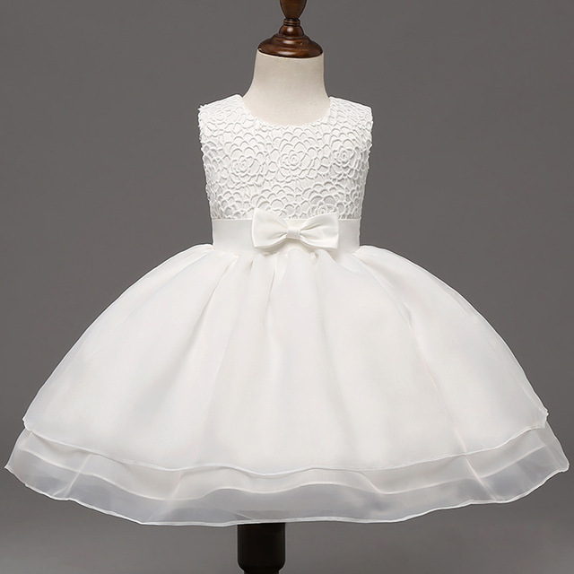 High Quality Baby Girl Dress Bow Lace Girl Princess Dress 1 Year Birthday Dress For Baby Girl Kids Wedding Dress Ball Gown