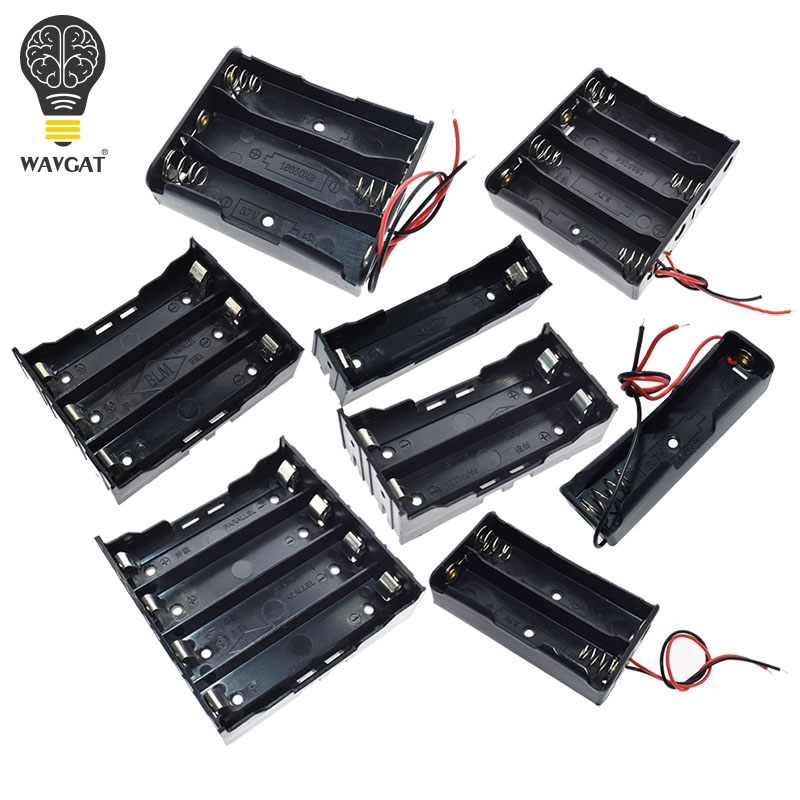 1X 2X 3X 4X Plastic Battery Case Holder Storage Box For 18650 Rechargeable Battery 1 2 3 4 Slot Container With Wire Lead Pin