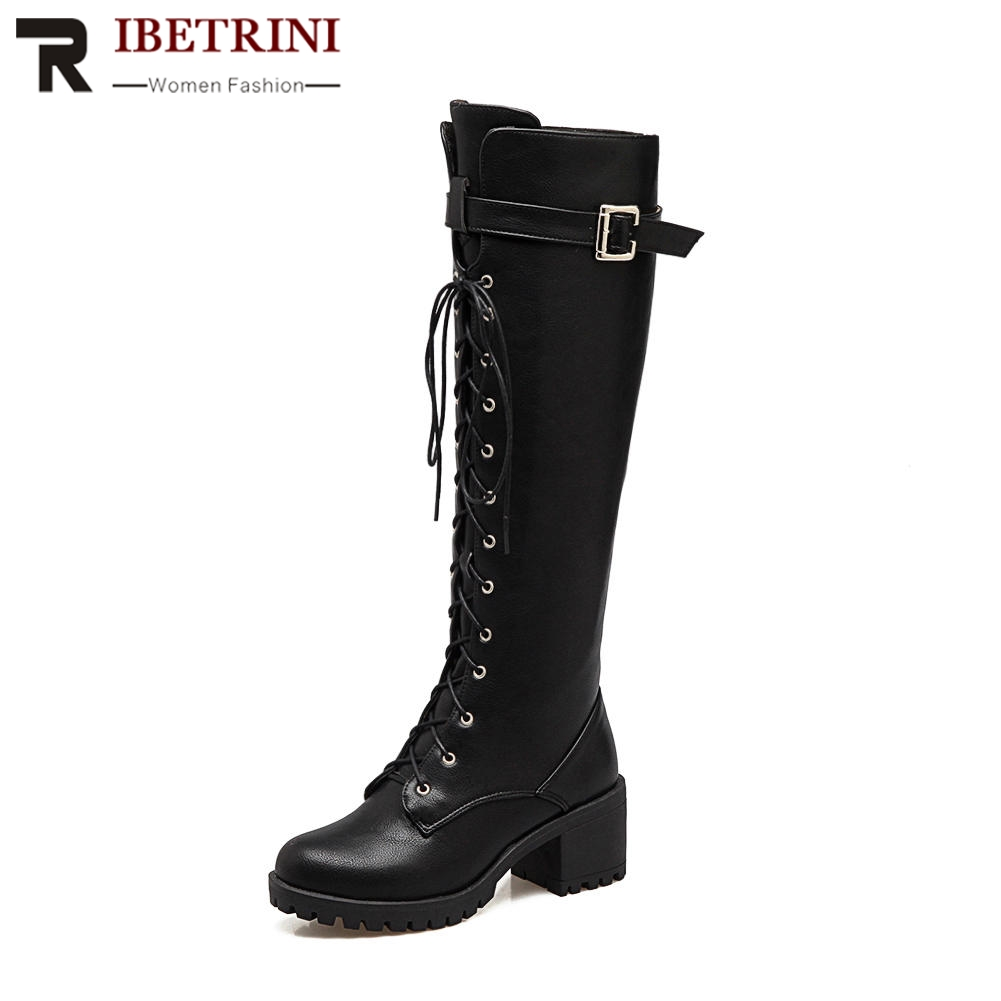RIBETRINI Size 34-43 Vintage Square Low Heels Round Toe Platform Front Lace Up Buckle Shoes Woman Cool Motorcycle Knee Boots недорго, оригинальная цена