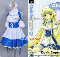 Chobits Cosplay Chii Blue Maid Dress H008