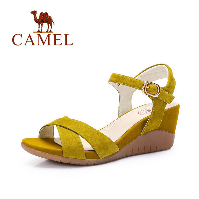Camel shoes women matte leather buckle strap wedge sandals 2016 summer new  minimalist women wedges high