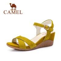Camel Shoes Women Matte Leather Buckle Strap Wedge Sandals 2016 Summer New Minimalist Women Wedges High