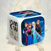 Movie Princess Anna Elsa USB Charger 2 AG13 Batteries LED Reloj Despertador Kids LED 7 Color