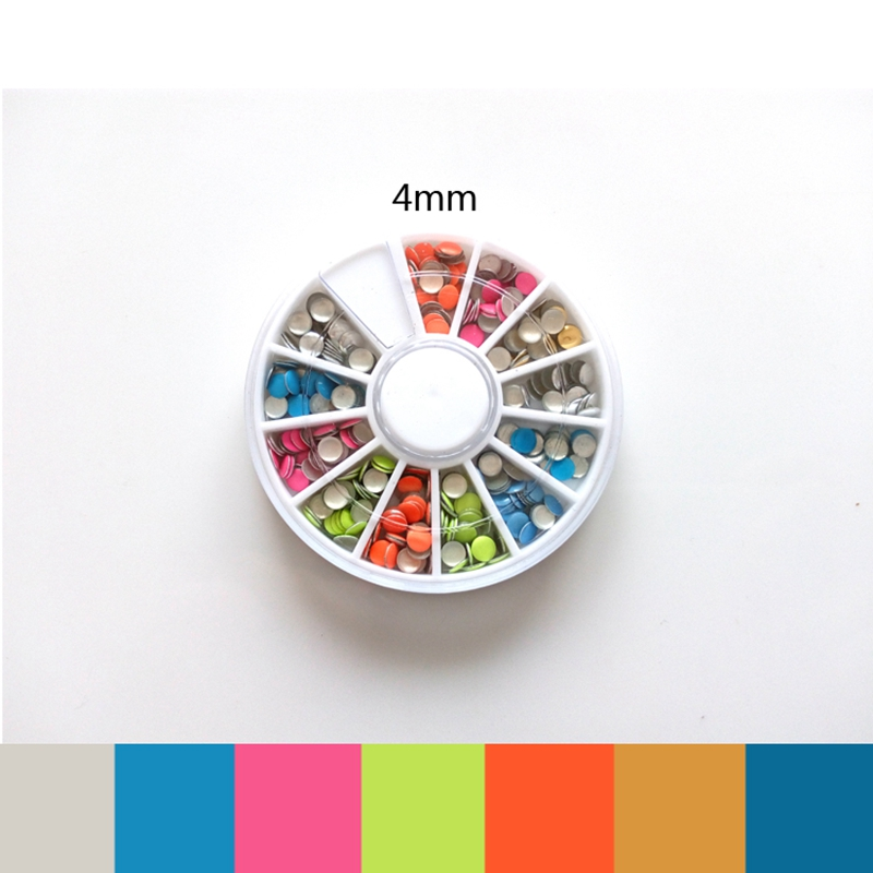 Colored Rivet 6 Shiny Color Metal Plating Beads Design Tips DIY Glitter Wheel Manicure 3D Nail Art Decorations For Charms Nails