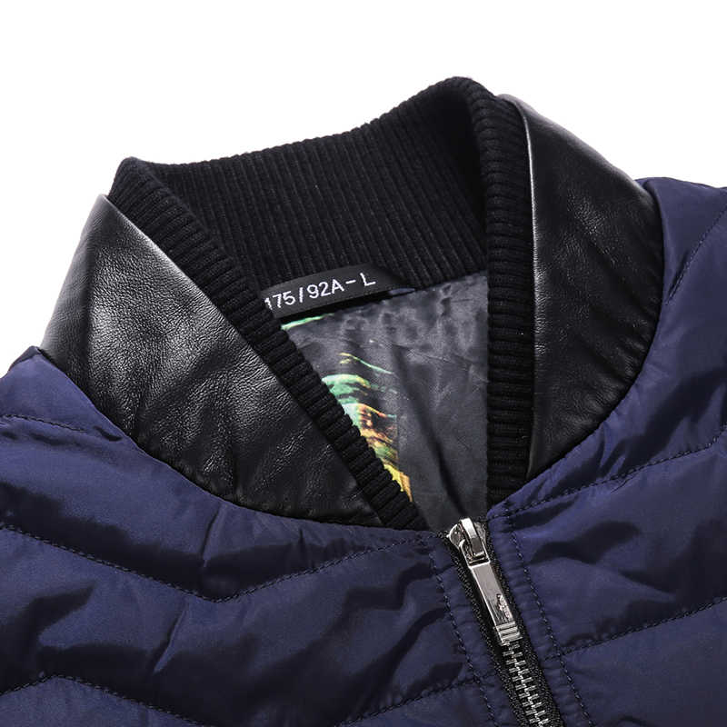 Seven7 marka 2019 zima ciepły biały puch kaczy kurtka stojak na płaszcze kołnierz skórzany projekt mężczyzna Parka znosić marka Patchwork ubrania
