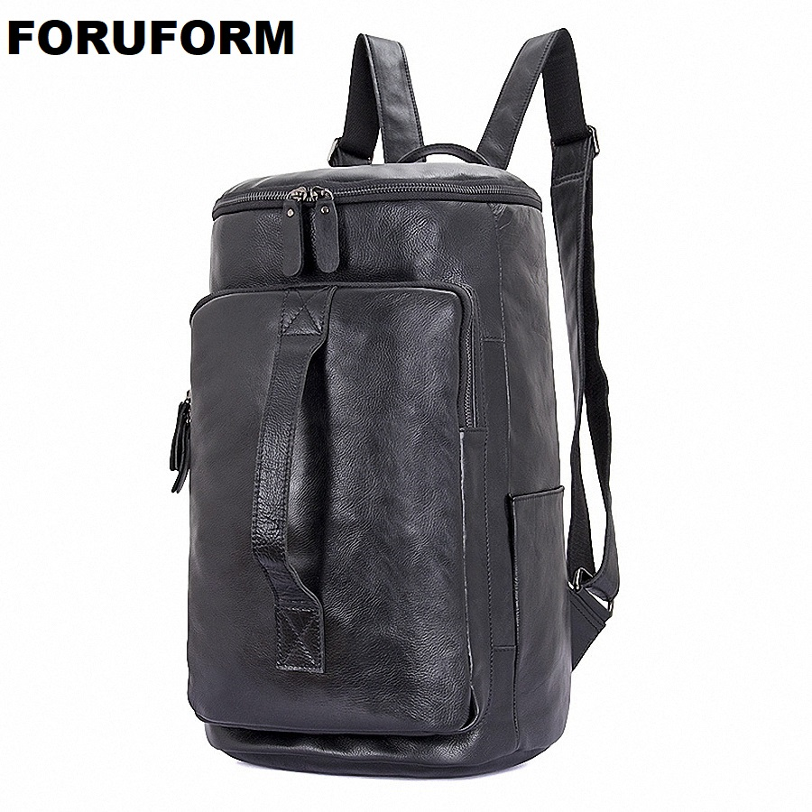 Genuine Leather Men Laptop Backpack Bag Travel Casual Business Male Luxury Waterproof Daypack Bucket Backpack For College I-2088 2017 hot men backpack male travel backpack mochilas school mens genuine leather business bag large laptop shopping travel bag