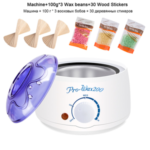 Image 1 - Electric Hair Removal Wax melt Machine Heater 300g Wax Beans 30pcs Wood Stickers Hair Removal Sets Waxing Kit cera depilatori