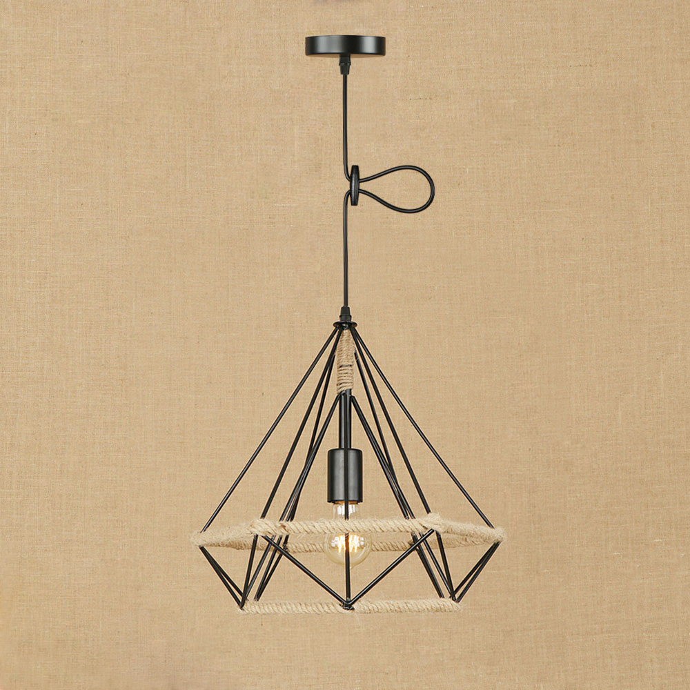 8 heads style loft industrial pendant light fixture dinning room hemp rope lamp vintage lights led edison style Loft retro industrial European style vintage black pendant lamp E27 LED hemp rope pendant light modern for bedroom living room