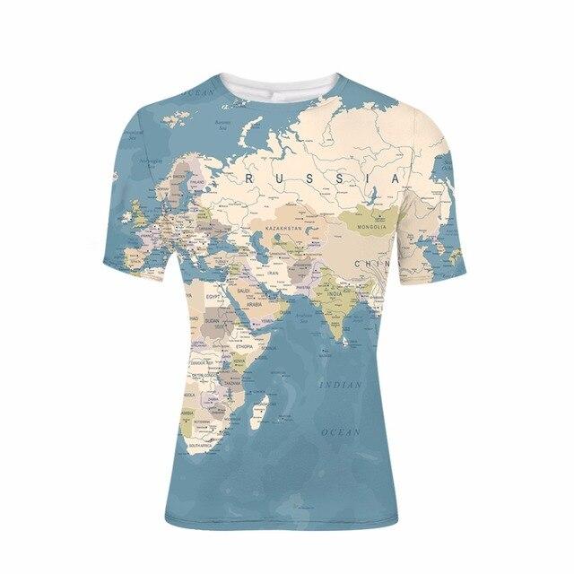 9b47ef08037 FORUDESIGNS Fashion Wholesale 3D Printl Man s World Map Design Short Sleeve  T-shirt Elastic Bodybuilding Male Tees Summer Tops