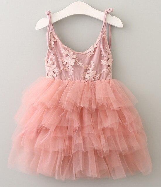 5c8221458e61 Elegant Toddler kids Summer Girls Lace Embroidered princess vest dress  flower baby girl wedding Party tutu Sundress clothes