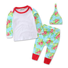 3Pcs Newborn Infant Baby Girls Tops Clothes Floral Shirt+Long Pants Outfits Set