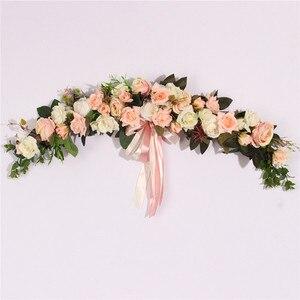 Image 3 - الورد الفاوانيا الزهور الاصطناعية إكليل الأوروبي Lintel جدار ديكور زهرة الباب إكليل لحفل الزفاف ديكور المنزل عيد الميلاد