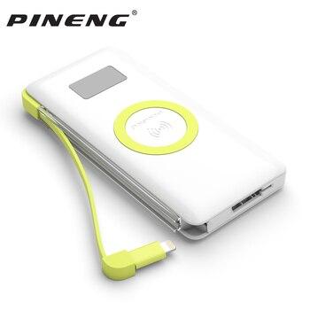 Pineng 10000 mAh Banco de la energía de PN-888 portátil móvil de la batería de polímero Li-polímero banco de energía inalámbrico de carga rápida 3,0 para iphoneX
