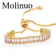 Molinuo Fashion AAA cubic zirconia Baguette bracelet shinning delicate Gold color chain bracelet for women dainty cz jewelry fym round bracelet silver rose gold color clear aaa cubic zirconia bracelet chain cz bracelet women 18cm jewelry accessories