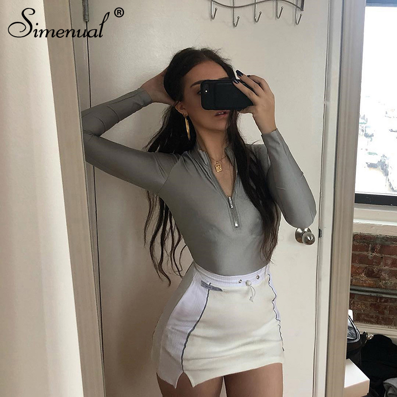 Simenual Casual Fashion Reflective Striped Two Piece Outfits Women Long Sleeve Top And Mini Skirt Sets 19 Autumn White Set New 12