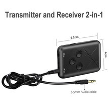 цена на 2 in 1 Car Bluetooth 4.2 Transmitter Wireless Music Stereo Audio Receiver with Mic AUX 3.5mm Jack for TV Home Car Speaker Music