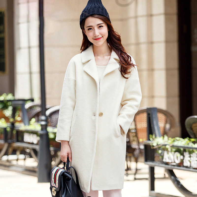 manteau femme hiver 2017 black long dress real fur wool coat winter thick turn down collar high