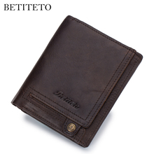 Betiteto Brand Rfid Genuine Leather Men Wallet Male Coin Pur
