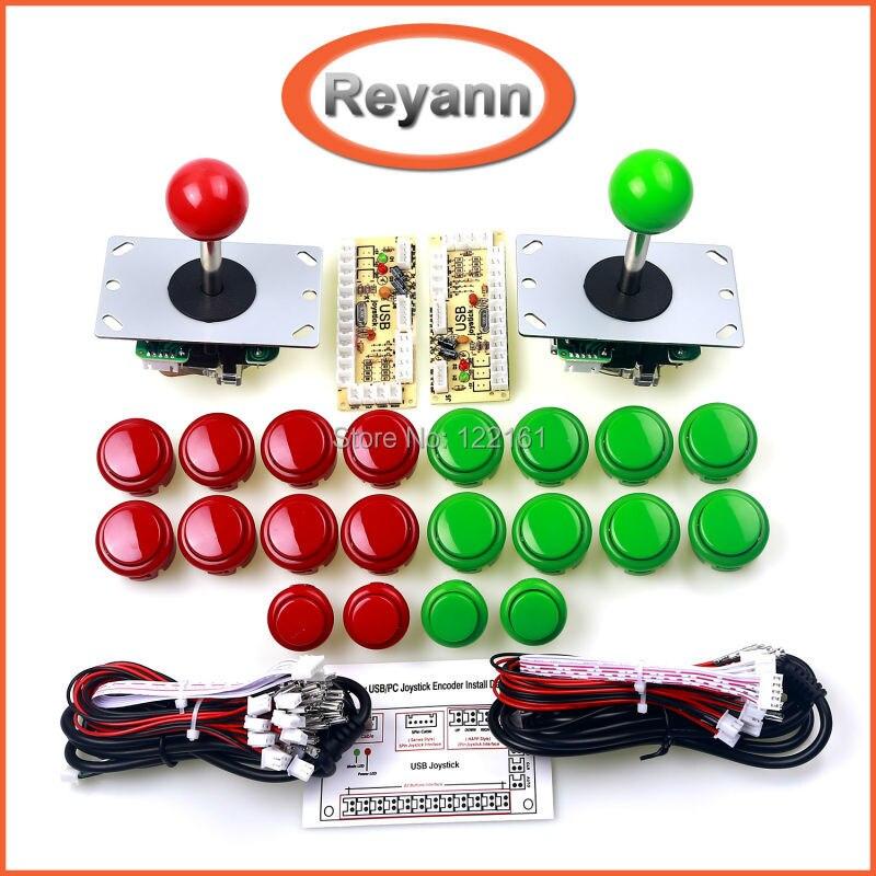 Arcade DIY Kit de demora cero controlador USB PC de arcade joystick + push Botones + Alambres arnés para MAME y frambuesa PI 3B