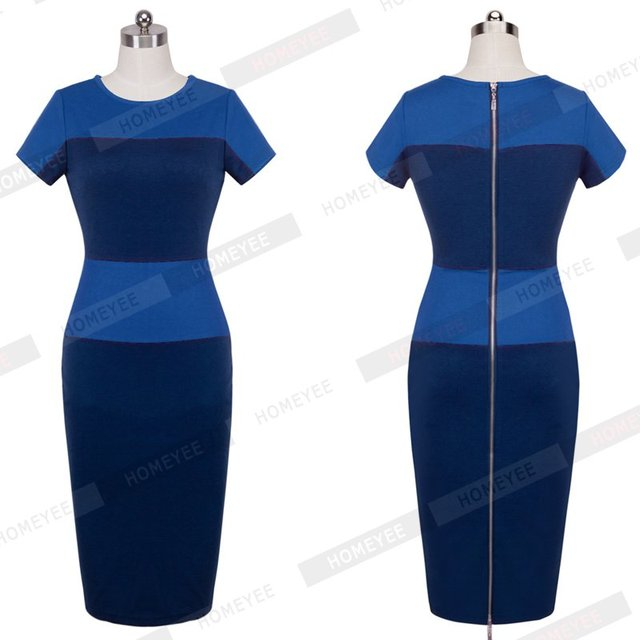 Fashion Stripe Women Dress Celeb Style Casual Career Business Sheath Patchwork Pencil Back Zipper Wiggle Party Dresses E463