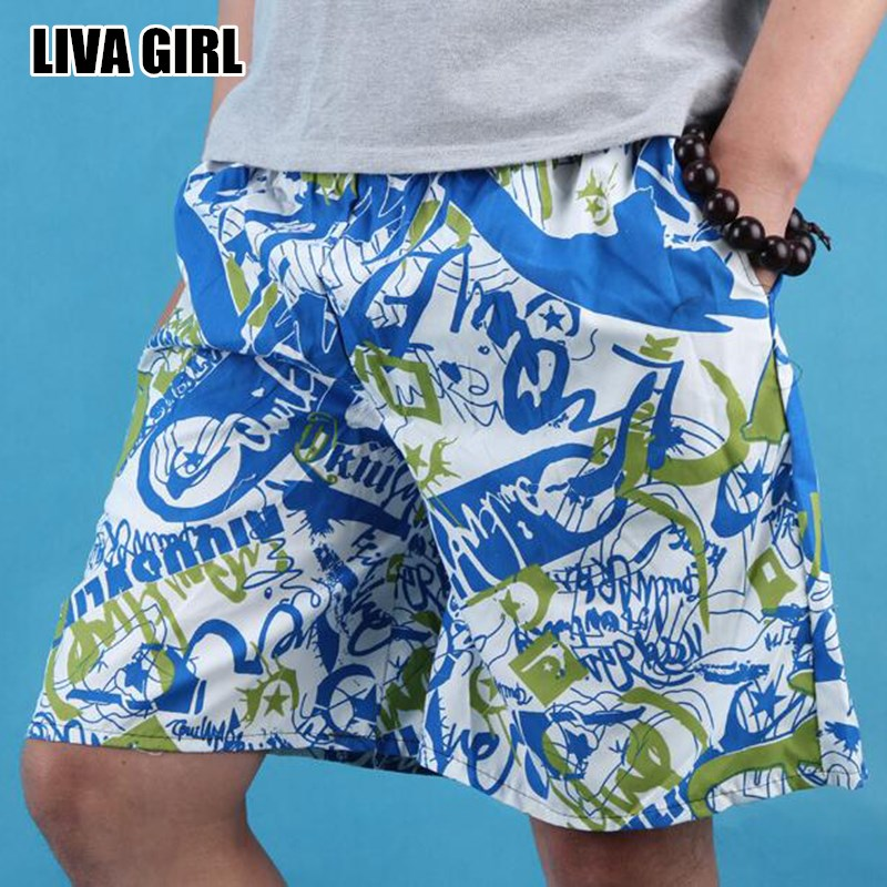 Liva Girl Hot Fresh Summer Men's Printed   Board     Shorts   Polyester Causal Beach Boardshorts For Male Random Color One Size