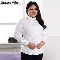Jinsen 3XL-10XL Aite Plus Size Blusa de Algodão Feminino Turn-Down Collar Sólidos Mulheres Encabeça o Desgaste do Trabalho Formal Escritório Camisas Blusas JS71
