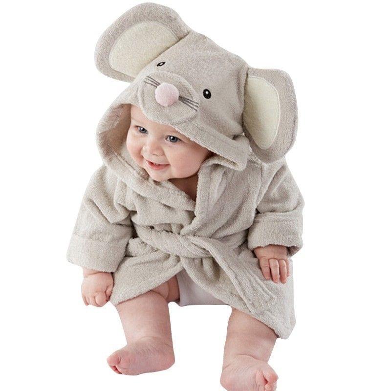 Cute Boy Girl Cartoon Animal Bathrobe Baby Hooded Bath Towel Infant Baby Ultra-Soft Elasticity Flannel Bathing Clothes