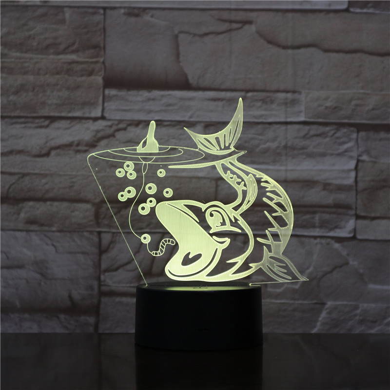 Fishing Shape 3D LED Night Light RGBw Mood Animal USB Touch Desk Table Lamp Home Bedroom Party Decor For Kids Gift Drop shipping