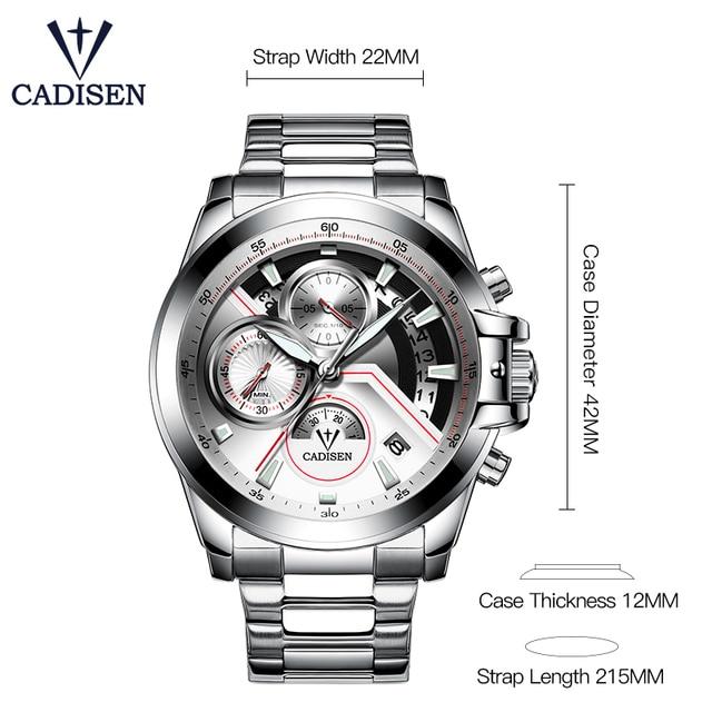 CADISEN 2019 Watch Men Top Brand Luxury Military Army Sports Casual Waterproof Mens Watches Quartz Stainless Steel Wristwatch 1