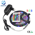 1 Set 5M SMD 3528 RGB Flexible LED Strip light 60LEDs / M + 24Key IR Remote Controller + DC 12V 3A Power Adapter EU / US Plug