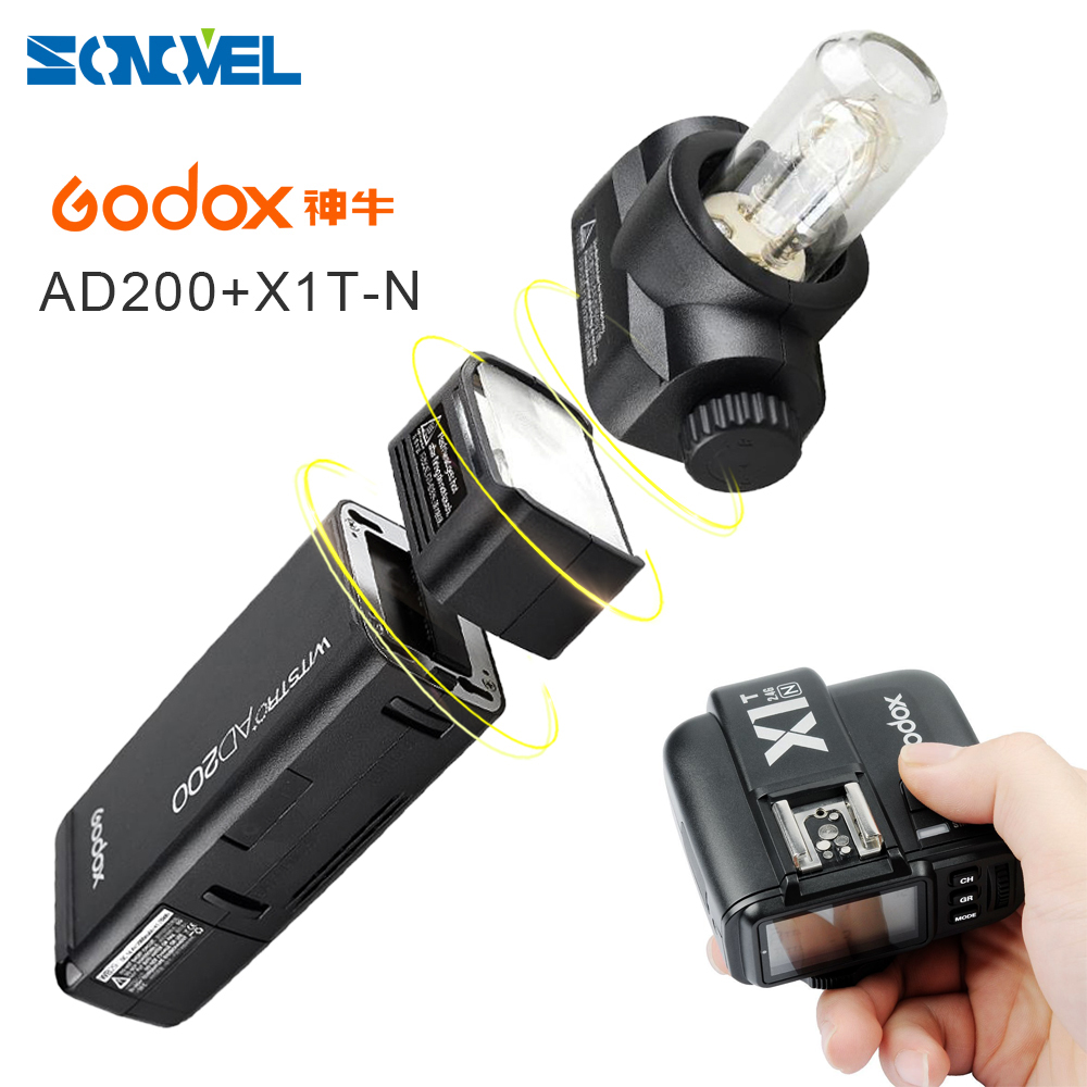 GODOX AD200 TTL 2.4G HSS 1/8000s Pocket Flash Light Double Head 200Ws & 2900mAh Lithium Battery+X1T-N Transmitter For Nikon