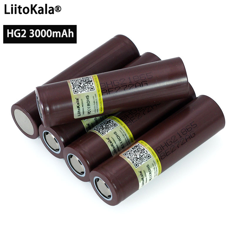 Liitokala 100% New Original HG2 18650 3000mAh battery 18650HG2 3.6V discharge 20A, dedicated For E cigarette Power battery-in Replacement Batteries from Consumer Electronics