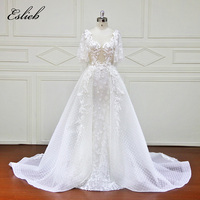 Special A Line Stunning Wedding Dress With Jacket Button Back Illusion Bodice Detachable Tail Bridal Gown Flower Lace Appliques