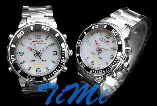 Luxury Diving Sports LED Light Chronograph Mens Watch white freeship