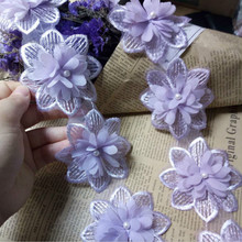 2yard Puple Rose Flower Pearl Chiffon Embroidered Lace Trim Ribbon Fabric Sewing Craft Patchwork Handmade DIY for Costume Decor