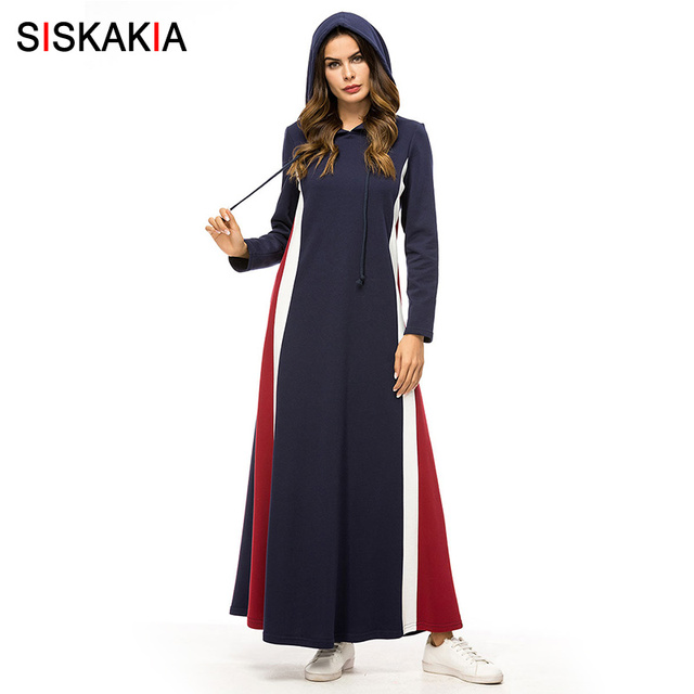 Siskakia Fashion Stripe Contrast Color Patchwork Women Long Dress Blue Thick Hooded Maxi Dresses Elegant Long Sleeve Dress Fall