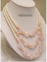 Hot sale Free Shipping>>>3 Rows Genuine White Pink Pearl Crystal 18KWGP Clasp Necklace