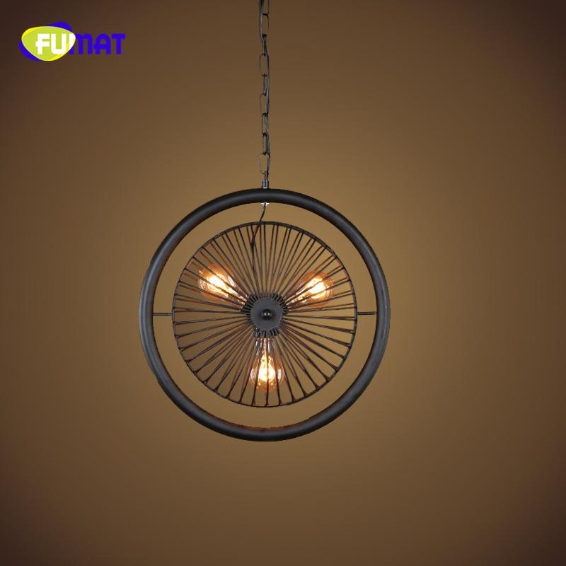 FUMAT Fan Shape Pendant Light American Retro Industrial Loft Pendant Lamps for Bar Cafe Antique Black Iron Fan Pendant Light