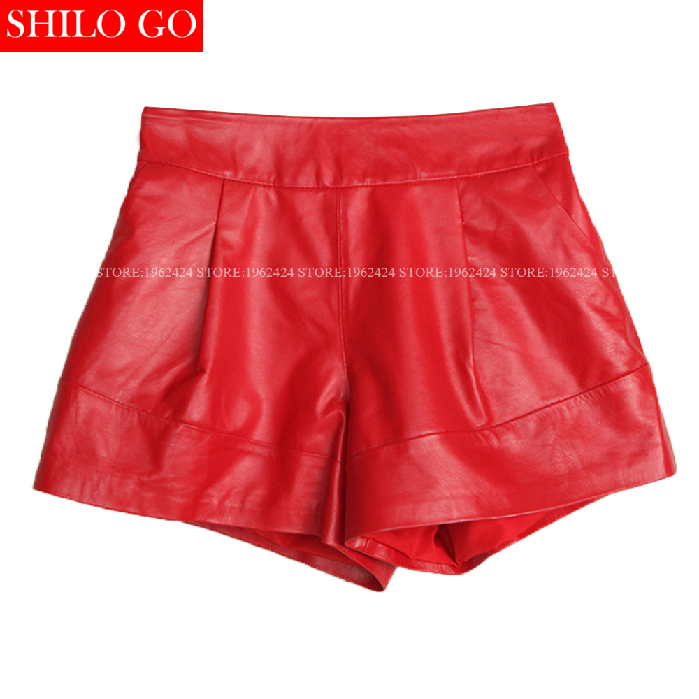 Autumn Winter Fashion New Women High Quality Sheep Skin Leather Thin Elastic Waist Wide Leg Red Leather Boots Shorts 3XL
