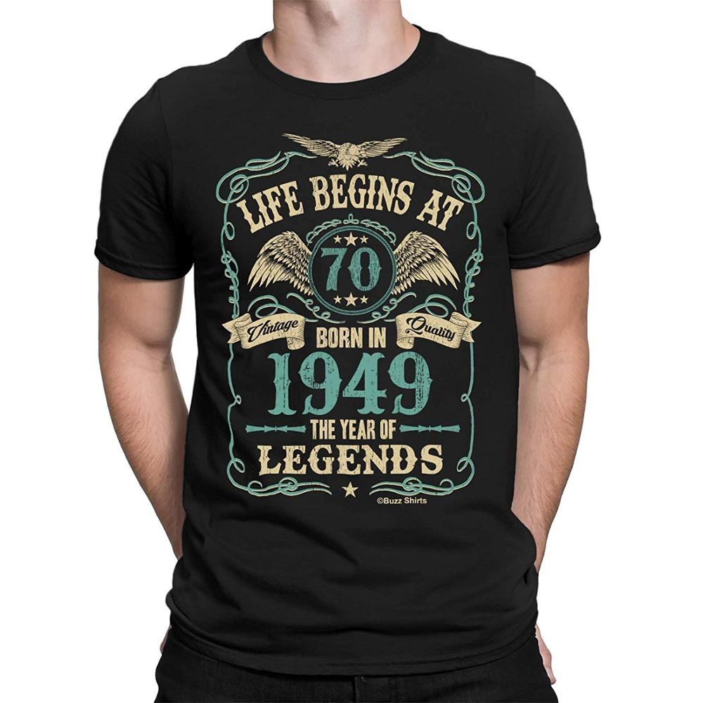 Life Begins At <font><b>70</b></font> Mens T-<font><b>Shirt</b></font> Born In 1949 The Year of Legends 70Th <font><b>Birthday</b></font> Gift 2019 New Men Clothing High Quality T <font><b>Shirts</b></font> image