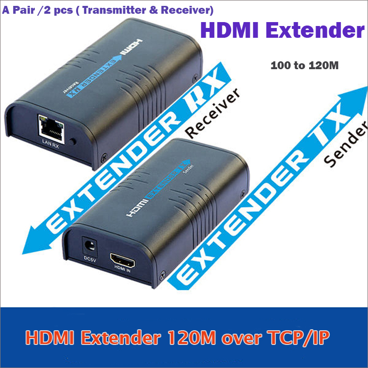 New HDMI Extender 120M  Over Ethernet LAN RJ45 CAT5E CAT6 up to 120M For HD 1080P DVD  A Pair of Transmitter & Receiver best price new usb utp extender adapter over single rj45 ethernet cat5e 6 cable up to 150ft