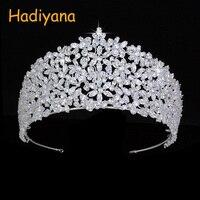Crown HADIYANA Lovely Flower Shape Design For Ladies Sparkling Bridal Jewelry Crowns BC4465 Full Zircon Corona Princesa